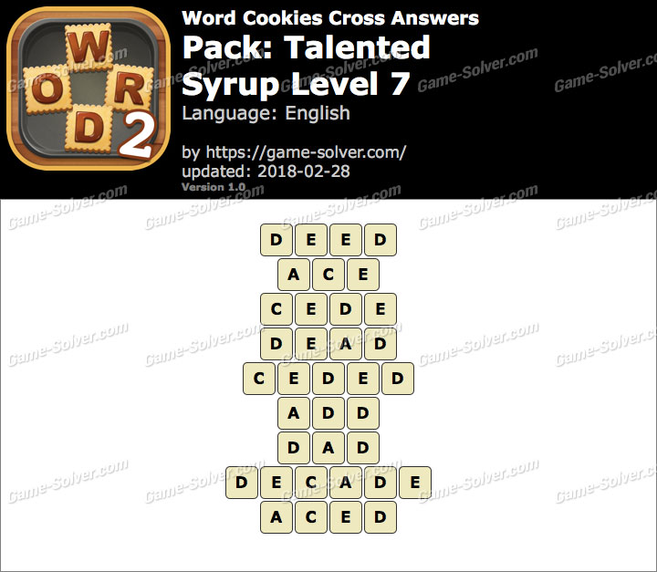 Word Cookies Cross Talented-Syrup Level 7 Answers