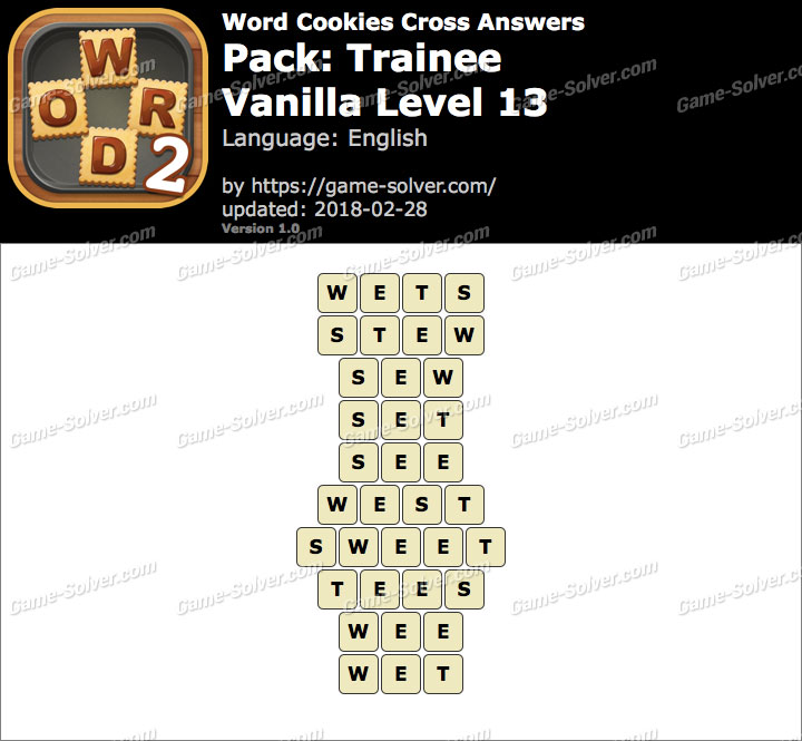 Word Cookies Cross Trainee-Vanilla Level 13 Answers