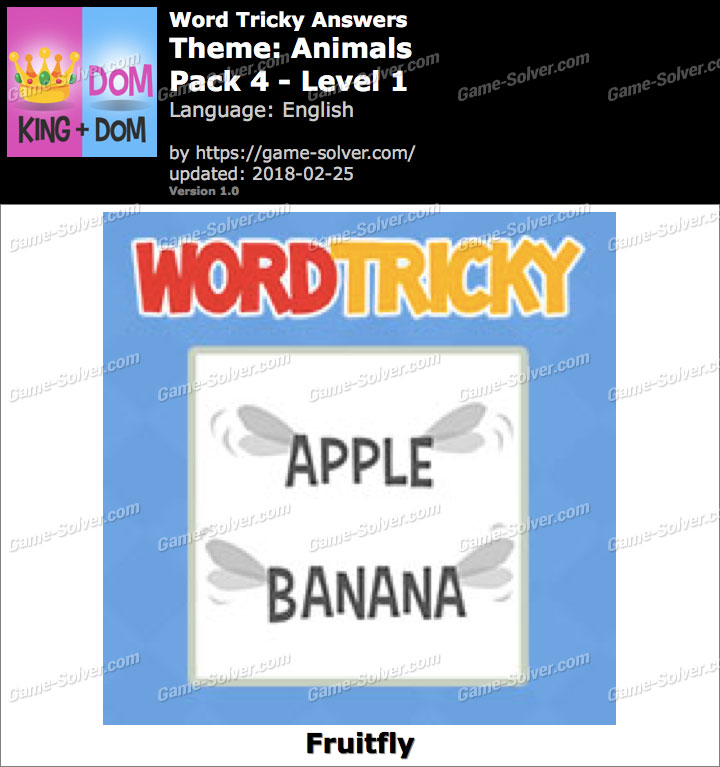 Word Tricky Animals Pack 4-Level 1 Answers