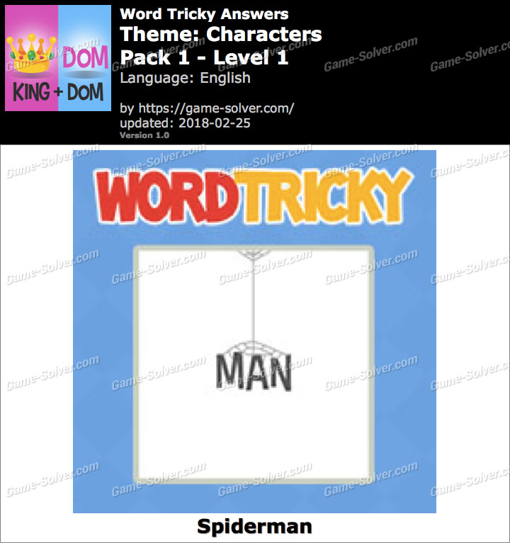 Word Tricky Characters Pack 1-Level 1 Answers