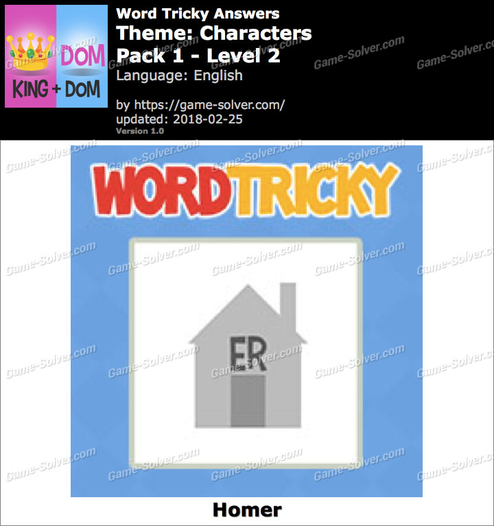 Word Tricky Characters Pack 1-Level 2 Answers