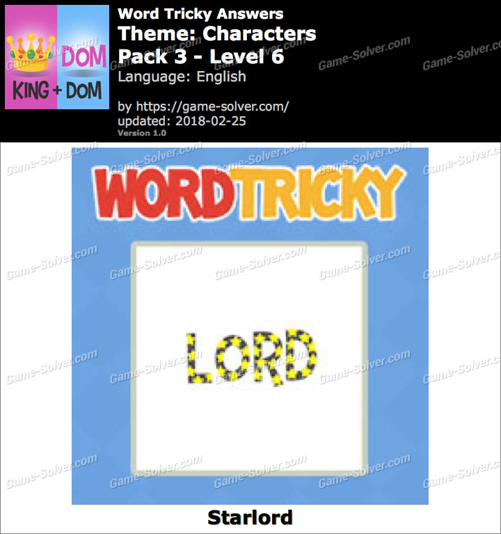 Word Tricky Characters Pack 3-Level 6 Answers
