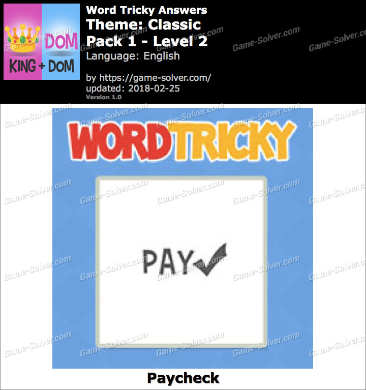 Word Tricky Classic Pack 1-Level 2 Answers