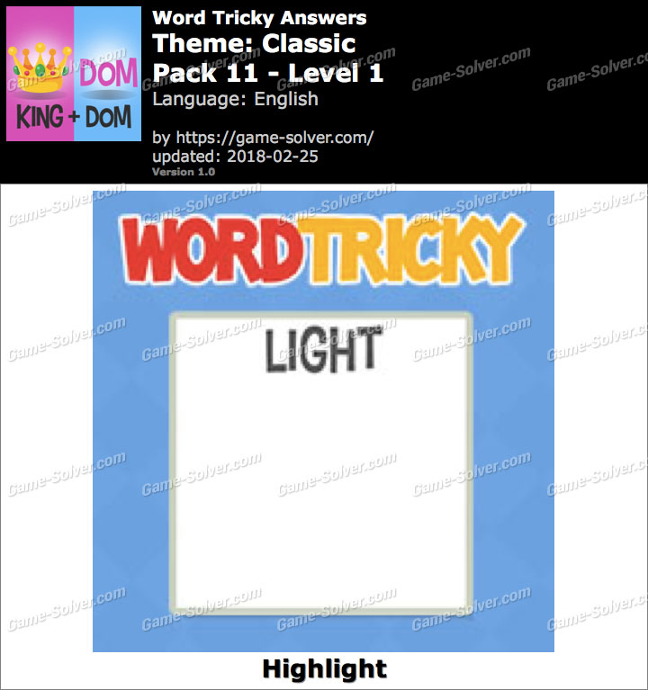 Word Tricky Classic Pack 11-Level 1 Answers