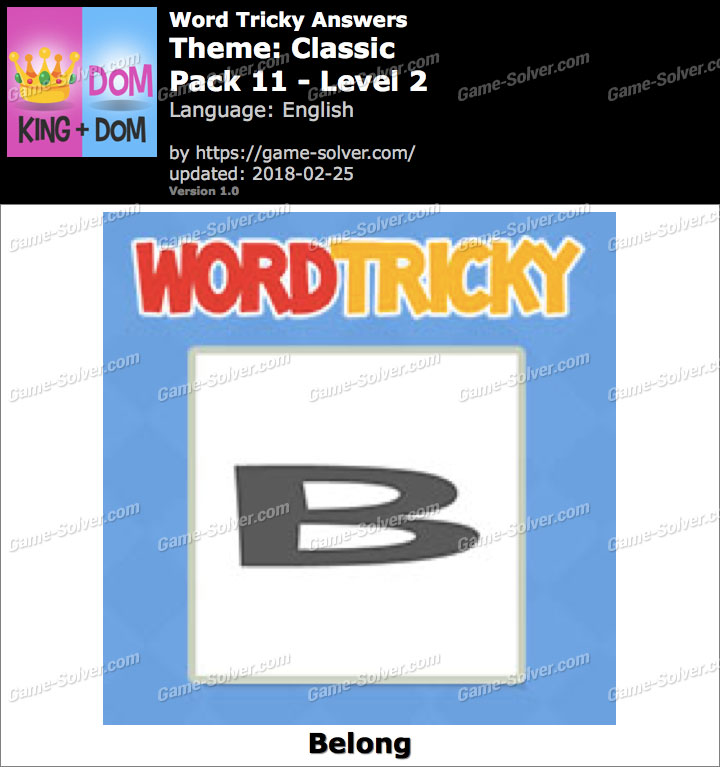 Word Tricky Classic Pack 11-Level 2 Answers