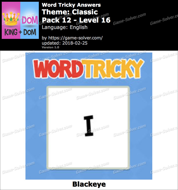 Word Tricky Classic Pack 12-Level 16 Answers