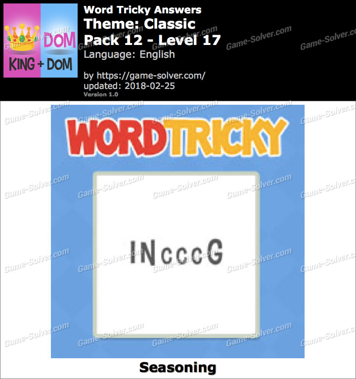 Word Tricky Classic Pack 12-Level 17 Answers