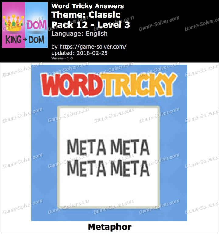 Word Tricky Classic Pack 12-Level 3 Answers