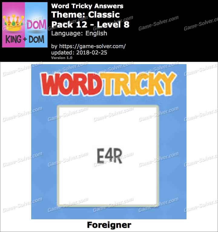 Word Tricky Classic Pack 12-Level 8 Answers