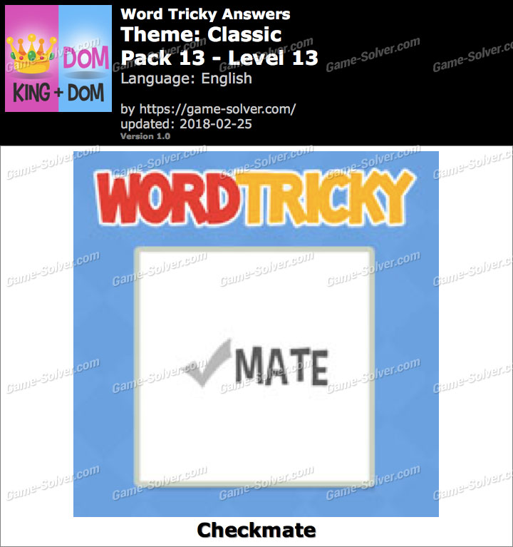 Word Tricky Classic Pack 13-Level 13 Answers