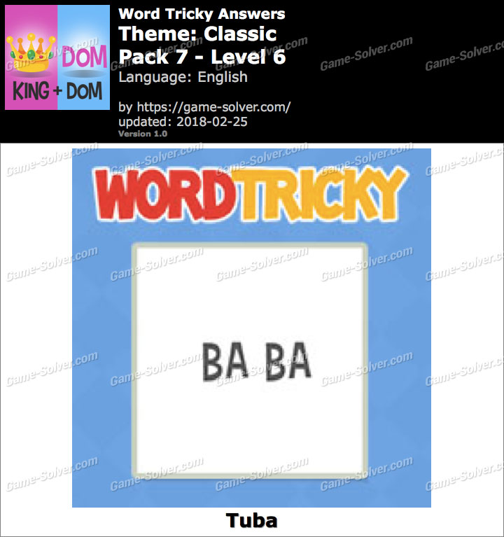 Word Tricky Classic Pack 7-Level 6 Answers