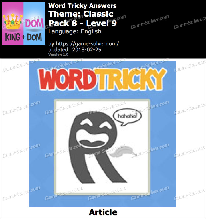 Word Tricky Classic Pack 8-Level 9 Answers
