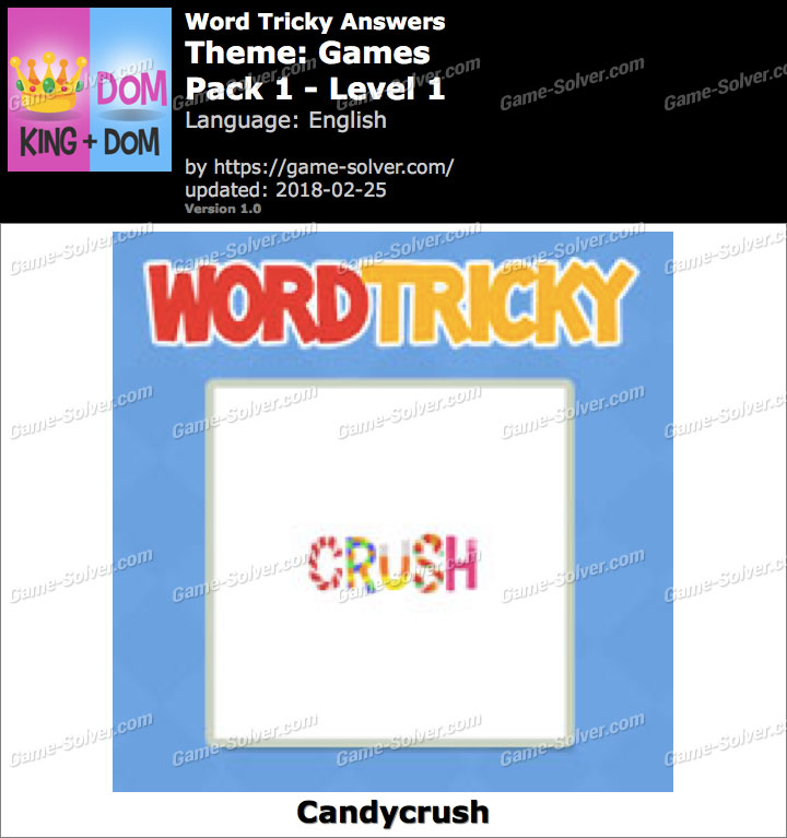 Word Tricky Games Pack 1-Level 1 Answers