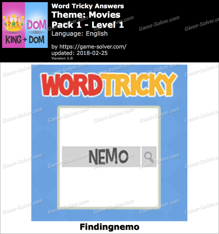 Word Tricky Movies Pack 1-Level 1 Answers