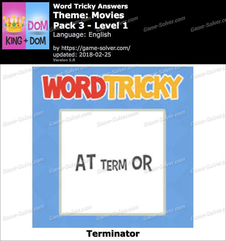 Word Tricky Movies Pack 3-Level 1 Answers
