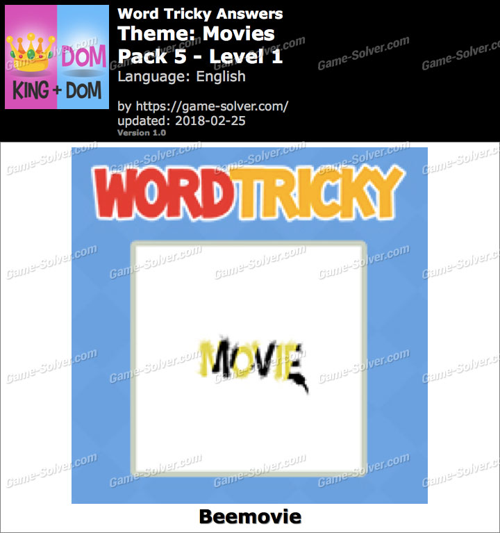 Word Tricky Movies Pack 5-Level 1 Answers