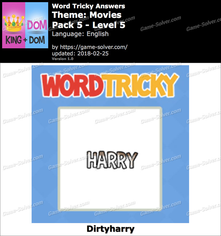 Word Tricky Movies Pack 5-Level 5 Answers