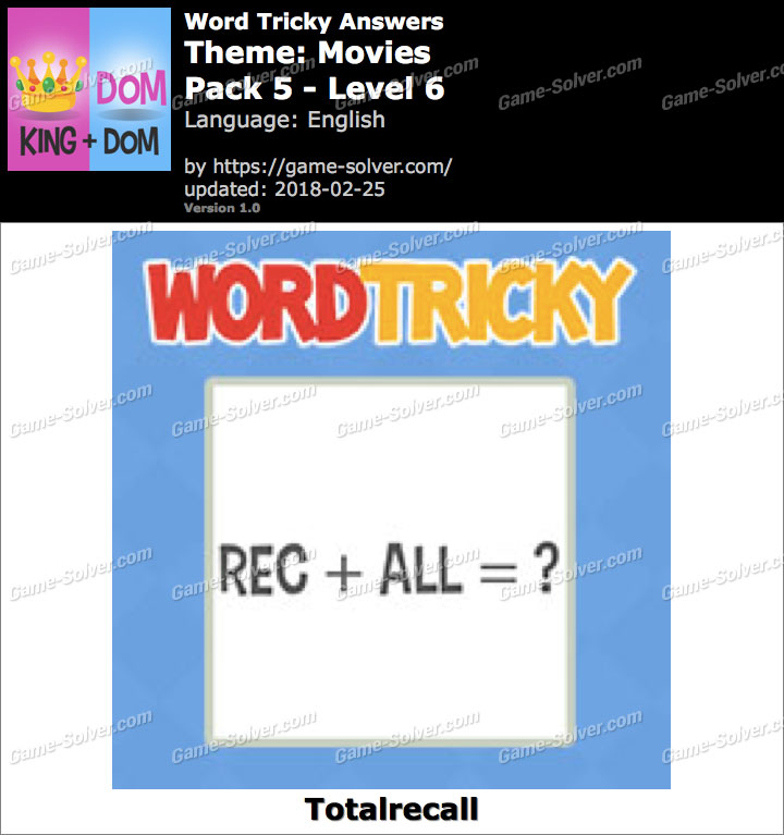 Word Tricky Movies Pack 5-Level 6 Answers