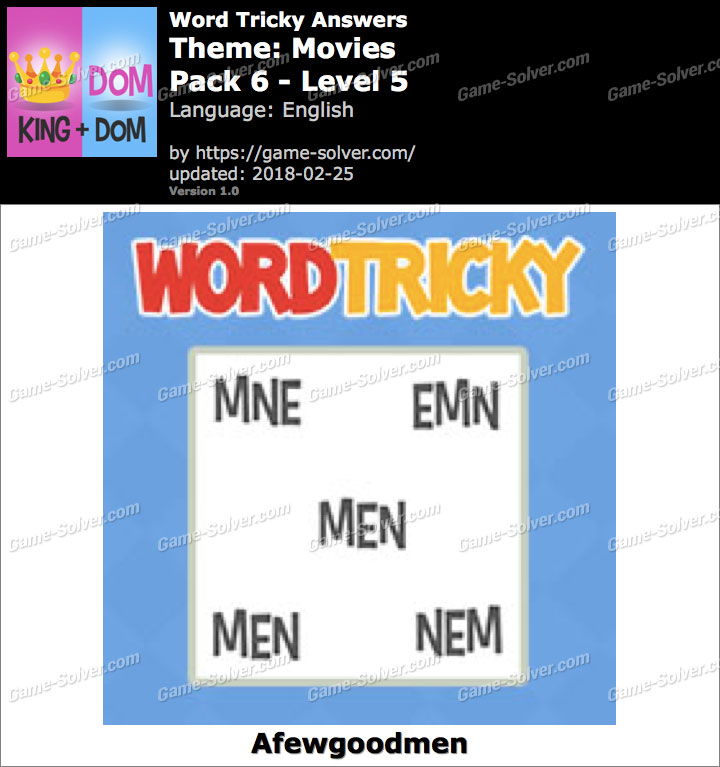 Word Tricky Movies Pack 6-Level 5 Answers