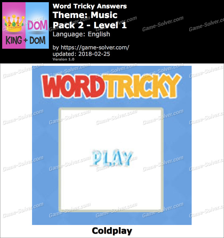 Word Tricky Music Pack 2-Level 1 Answers