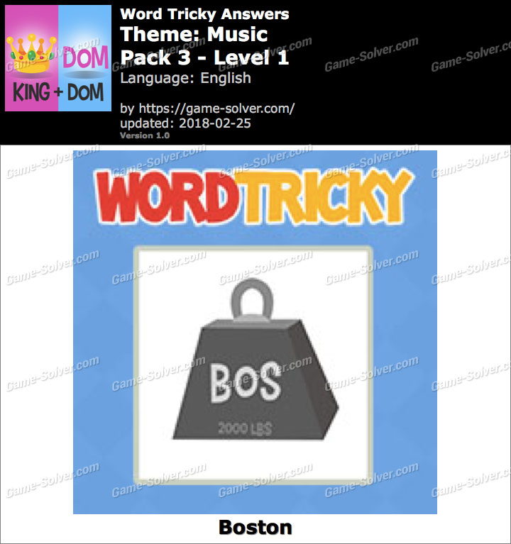 Word Tricky Music Pack 3-Level 1 Answers