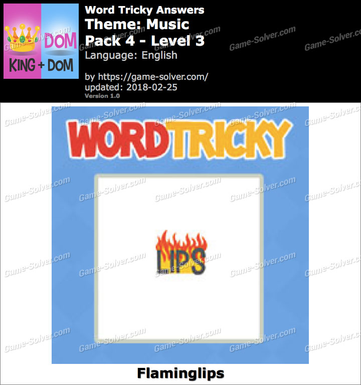 Word Tricky Music Pack 4-Level 3 Answers