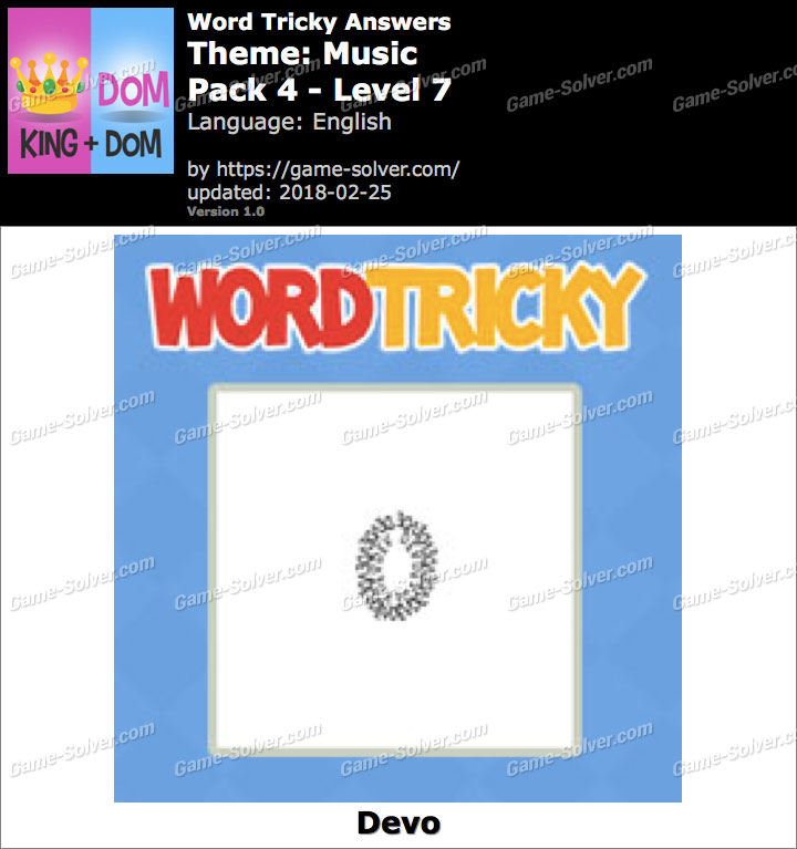 Word Tricky Music Pack 4-Level 7 Answers