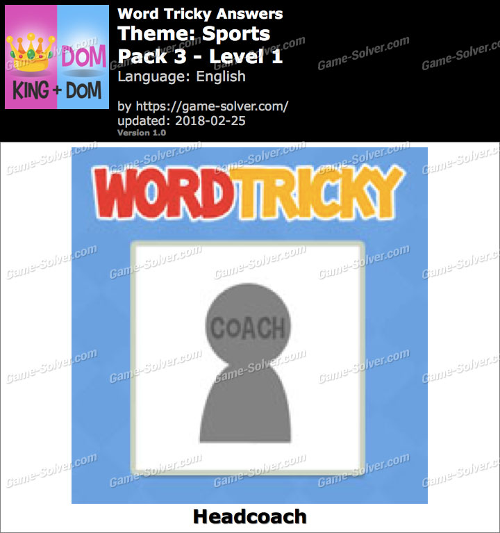 Word Tricky Sports Pack 3-Level 1 Answers