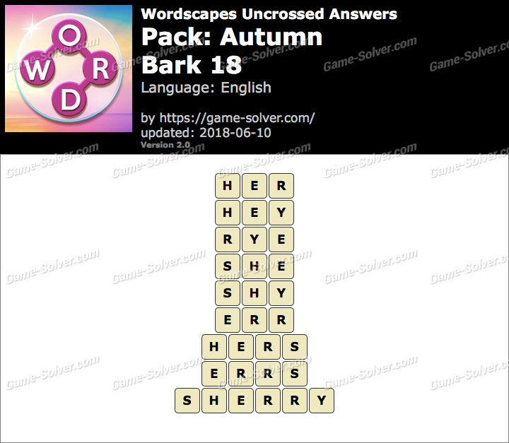 Wordscapes Uncrossed Autumn-Bark 18 Answers
