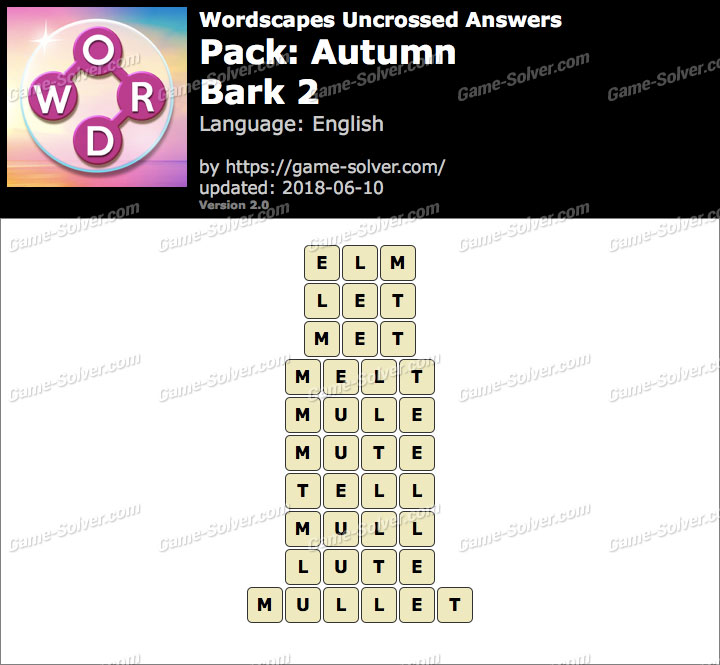 Wordscapes Uncrossed Autumn-Bark 2 Answers