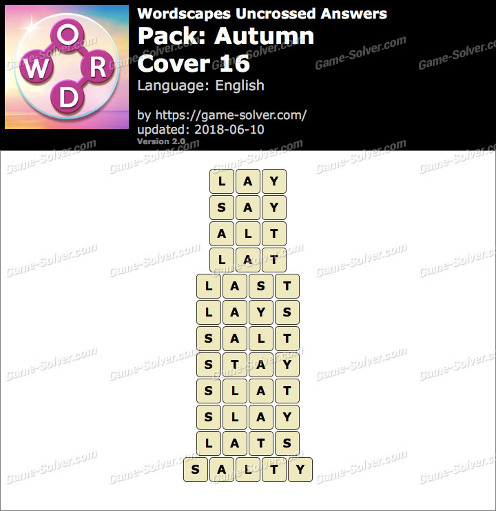 Wordscapes Uncrossed Autumn-Cover 16 Answers