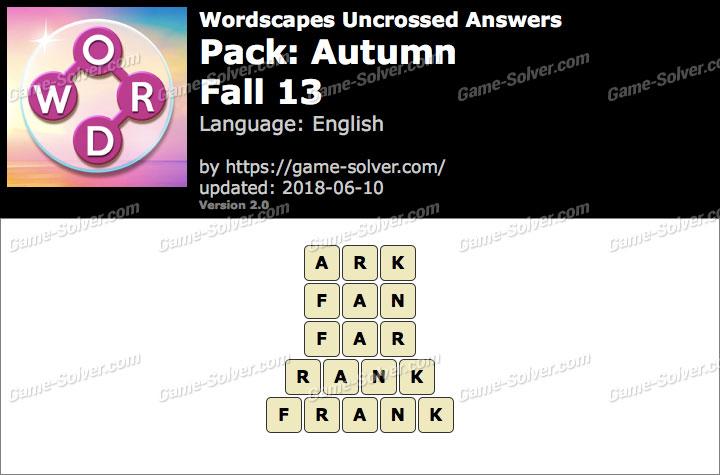 Wordscapes Uncrossed Autumn-Fall 13 Answers