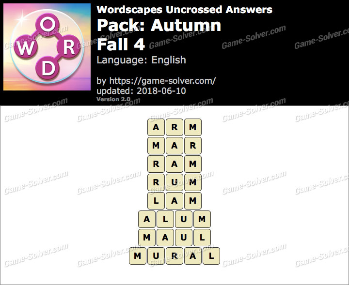 Wordscapes Uncrossed Autumn-Fall 4 Answers