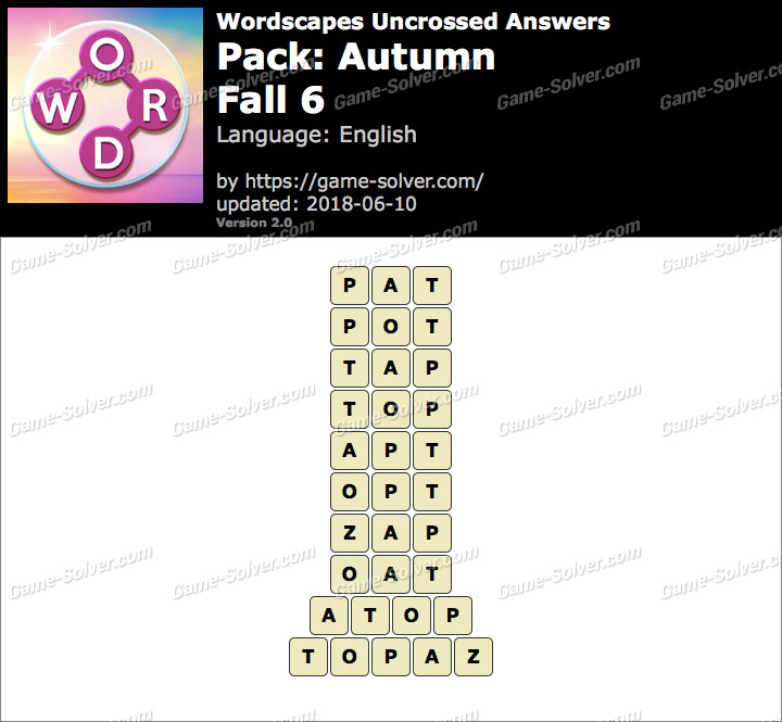 Wordscapes Uncrossed Autumn-Fall 6 Answers