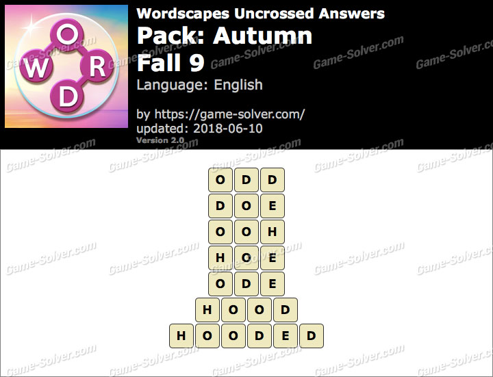 Wordscapes Uncrossed Autumn-Fall 9 Answers