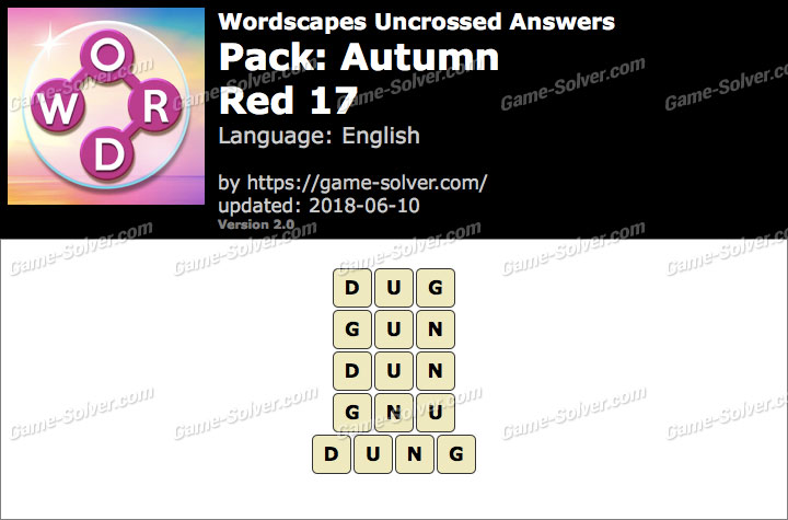 Wordscapes Uncrossed Autumn-Red 17 Answers