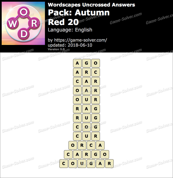 Wordscapes Uncrossed Autumn-Red 20 Answers