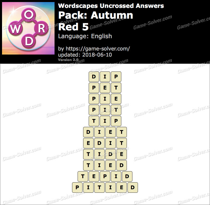 Wordscapes Uncrossed Autumn-Red 5 Answers