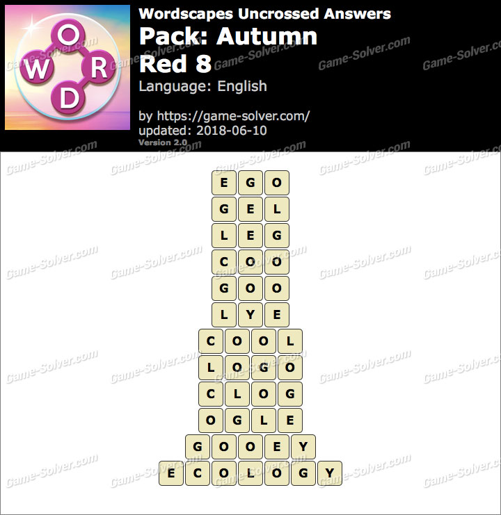 Wordscapes Uncrossed Autumn-Red 8 Answers