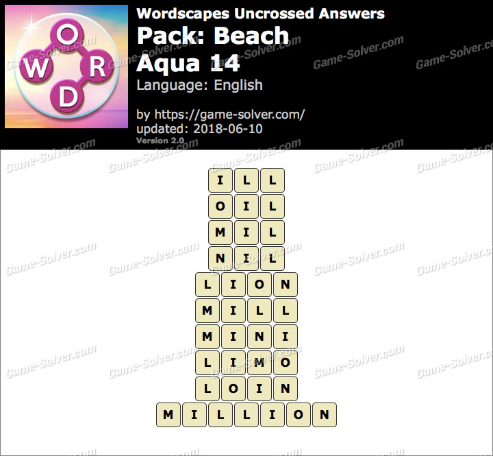 Wordscapes Uncrossed Beach-Aqua 14 Answers