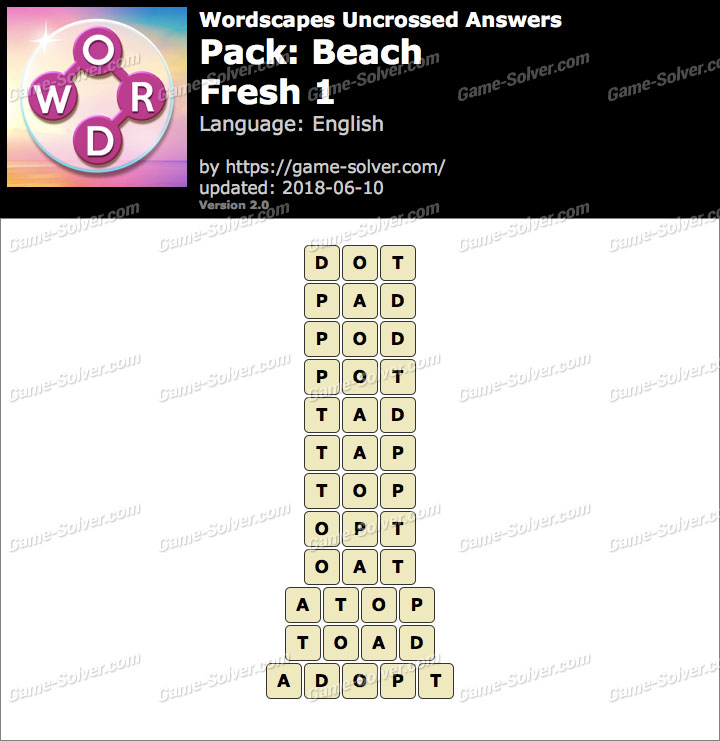 Wordscapes Uncrossed Beach-Fresh 1 Answers
