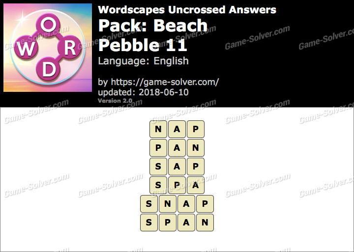 Wordscapes Uncrossed Beach-Pebble 11 Answers