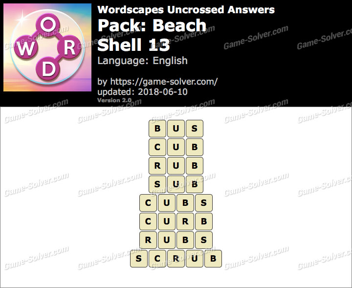 Wordscapes Uncrossed Beach-Shell 13 Answers