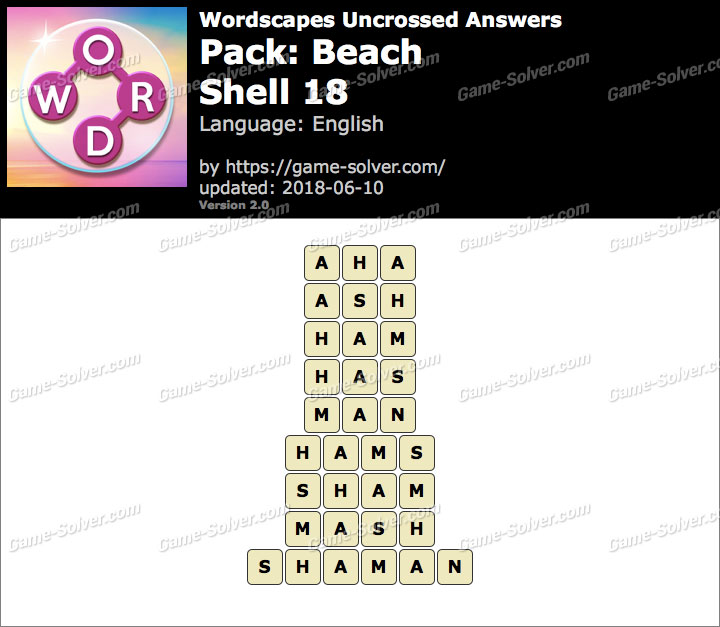Wordscapes Uncrossed Beach-Shell 18 Answers