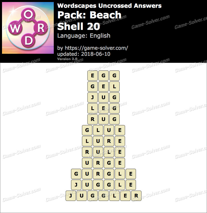 Wordscapes Uncrossed Beach-Shell 20 Answers