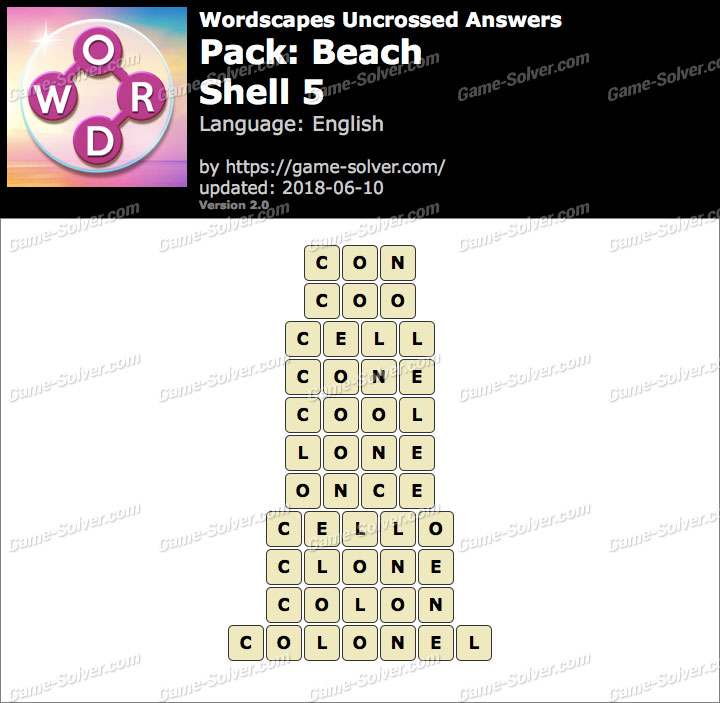 Wordscapes Uncrossed Beach-Shell 5 Answers