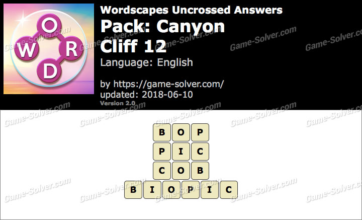 Wordscapes Uncrossed Canyon-Cliff 12 Answers