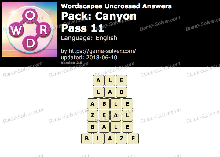 Wordscapes Uncrossed Canyon-Pass 11 Answers