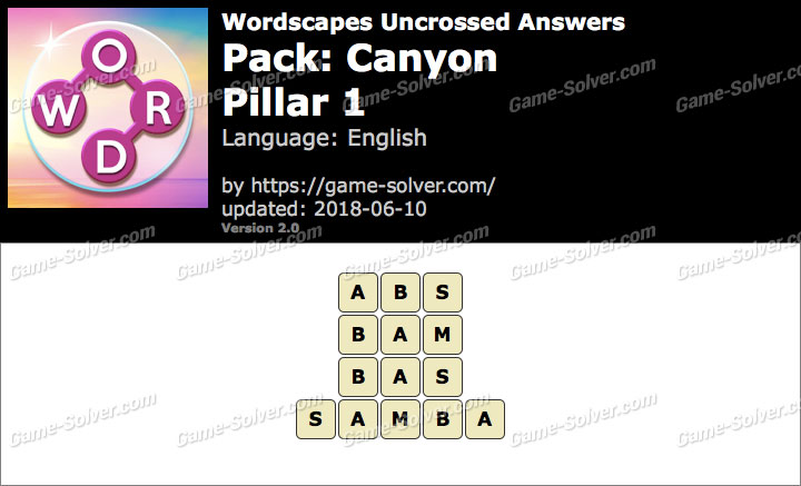 Wordscapes Uncrossed Canyon-Pillar 1 Answers
