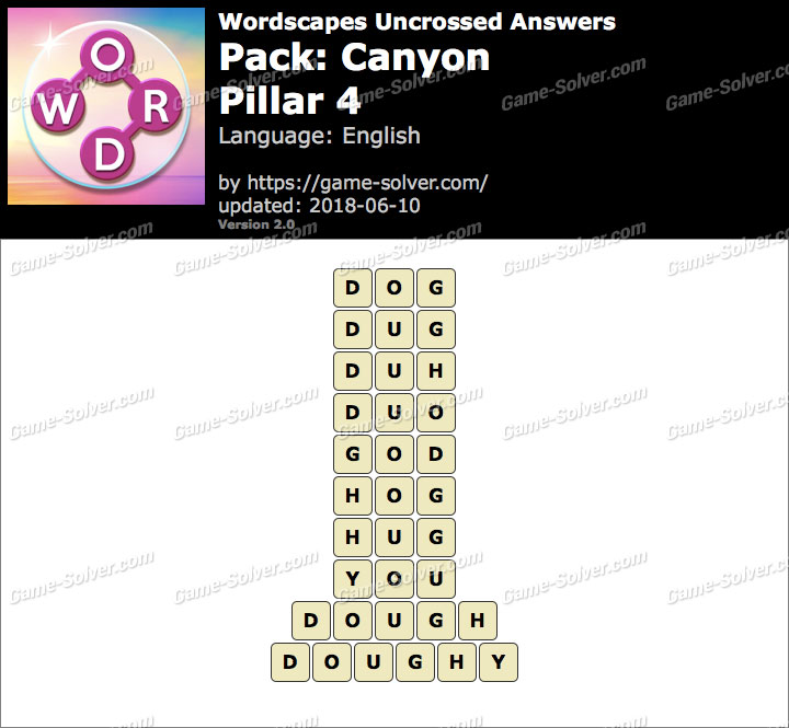 Wordscapes Uncrossed Canyon-Pillar 4 Answers